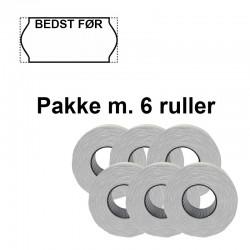 """Universale Prismærker 26x12mm perm hvid """"Bedst Før:"""" - Pakke m. 6 ruller"""
