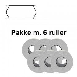 Universale Prismærker 26x12mm aftag. hvid - Pakke m. 6 ruller