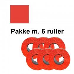 Prismærker PB2 18x16mm aftag. fluor rød - Pakke m. 6 ruller